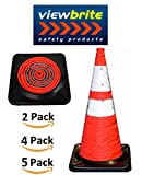 ViewBrite Safety Collapsible Traffic Cone 28'' - LED Lighted Collapsible Safety Cone 28'' - Heavy Black Rubber Base [2 Pack]