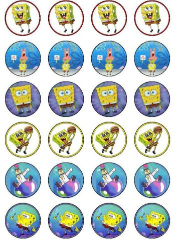 24 Spongebob Cupcake Wafer Toppers