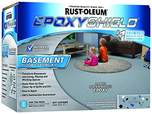 - Rust-Oleum 203007 Epoxy Shield Basement Floor Kit, 1 Pack, Gray
