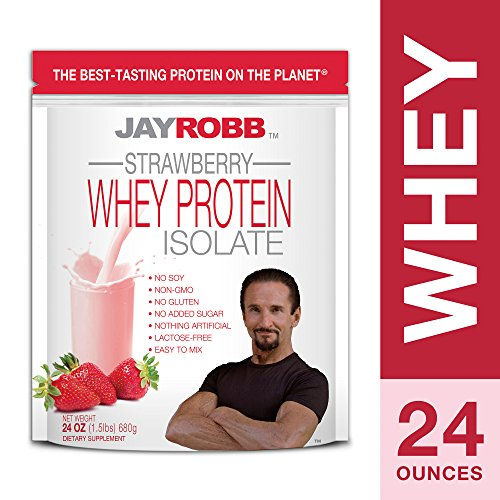 Jay Robb - Grass-Fed Whey Protein Isolate Powder, Outrageously Delicious, Strawberry, 23 Servings (24 oz)