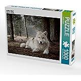 CALVENDO Puzzle Weißer Wolf 1000 Teile Lege-Größe 64 x 48 cm Foto-Puzzle Bild von Arnaud Camel