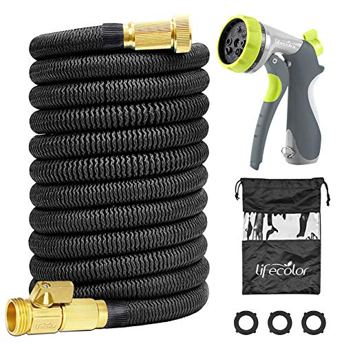 lifecolor Expanding Garden Hose, 100ft Expandable Water Hose with Double Latex Core, Solid Brass Connector and Extra Strength Fabric Flexible Spray Hose with 8 Function Nozzle by lifecolor