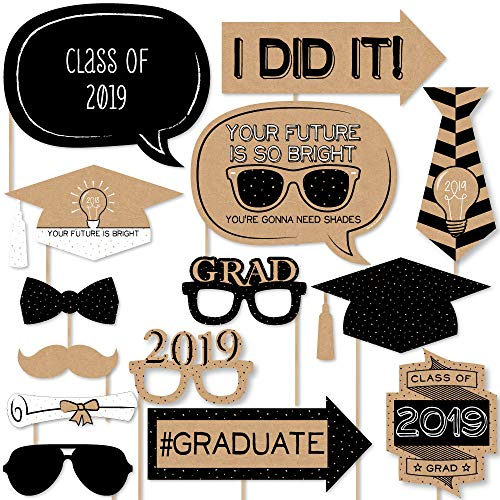 Big Dot of Happiness Bright Future - 2019 Graduation Photo Booth Props Kit - 20 Count -