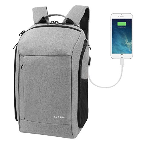 Inch with Camera Case and USB Charging Port, Carry on Backpack for Travel and Business Flight Approved Carry On Bag, Hand Luggage Rucksack 25L Light Gray by SLOTRA (Camera Laptop Backpack)