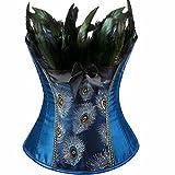 jutrisujo Women's Overbust Corsets Bustiers Plus Size Lingerie Embroidery Bustiers Peacock Nobility Feather Burlesque Blue 5XL