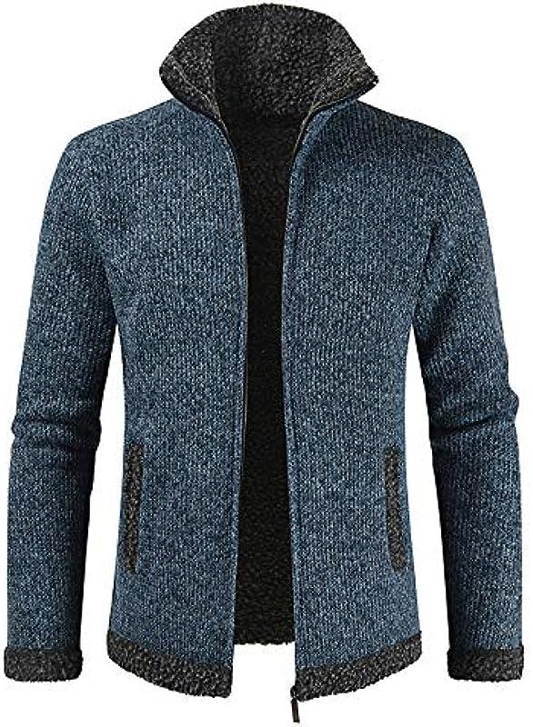 Yczx męska kurtka dziergana, gruby sweter z zamkiem błyskawicznym na całej długości, z polarową podszewką, płaszcz zimowy, kardigan, grubo dziergany sweter ze stÓjką, ciep