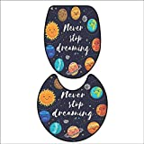 2 Piece Toilet mat Set Cute Outer Space Planets and Star Cluster Solar System Moon and Comets Sun Cosmos Illustration 2 Piece Shower Mat Set 15''x18''-D20
