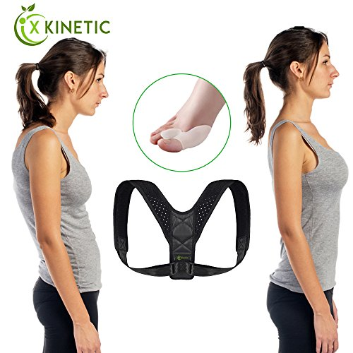 X KINETIC Posture Corrector Back Brace + FREE Orthotic Toe Bunion Cushion - Shoulder Support, Cushion for Men & Women, Improve Bad Posture, Thoracic Kyphosis, Humpback, Shoulder Alignment & Back Pain