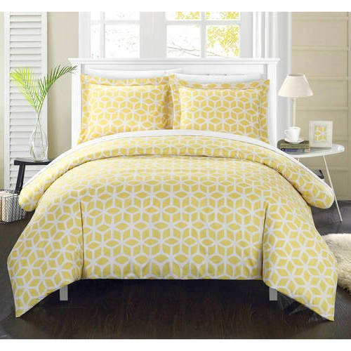 Cube Comforter Set (3 Piece Yellow White Modern Geometric Pattern Duvet Cover Queen Set, Eye-Catching Gold Stylish 3D Square Cube Print Comforter Cover Bedding Solid Hippie Textured Design, Casual Style, Soft Microfiber)