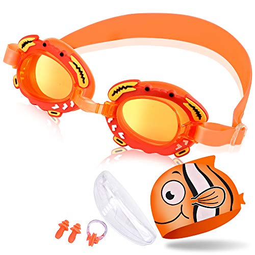 (OTraki Swimming Goggles Silicone Swim Cap Set Kids Age 3-12 Boys Girls Leakproof Anti Fog Swim Goggles Children Early Teens Adjustable Strap Swimming Glasses with Case, Nose Clip, Ears Plug Orange)