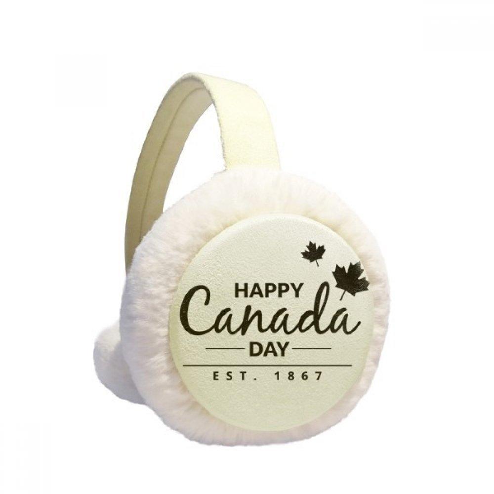 Maple Leaf Happy Canada Day 4th Of July Slogan Winter Earmuffs Ear Warmers Faux Fur Foldable Plush Outdoor Gift