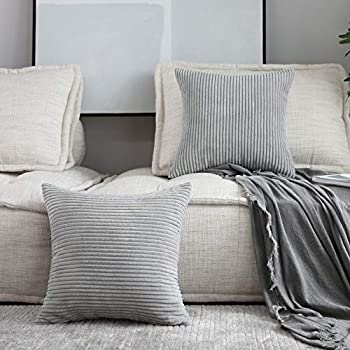 Home Brilliant 2 Packs Decor Soft Decorative Striped Corduroy Velvet Square Throw Pillow Sofa Cushion Covers for Couch, 20x20 inch (50cm), Light Grey