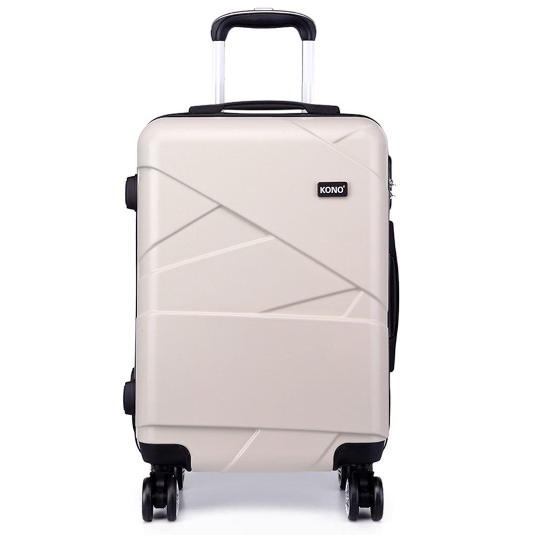Kono Fashion Bagages de voyage à 4 roues Valises de PC rigides 3 pièces 20 24 28 pouces Valise (Noir, 20) 20) K1772L