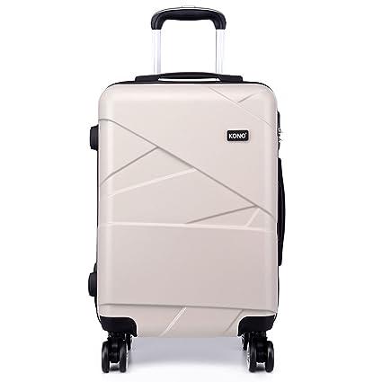 680e36e1e Kono Fashion 4 Wheels Travel Luggage Sets PC Hard Shell Suitcases 3 Pieces  20 Inches Suitcase (Beige 20