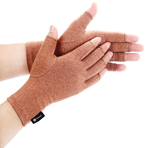 Duerer Arthritis Gloves Women Men for RSI, Carpal Tunnel, Rheumatiod, Tendonitis, Fingerless Hand Thumb - Compression Gloves Small Medium Large XL for Pain Relief. (Brown, S) by Duerer