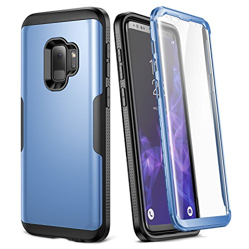 Blue Cover Case Protector (Galaxy S9 Case, YOUMAKER Metallic Blue with Built-in Screen Protector Heavy Duty Protection Shockproof Slim Fit Full Body Case Cover for Samsung Galaxy S9 5.8 inch (2018) - Blue/Black)