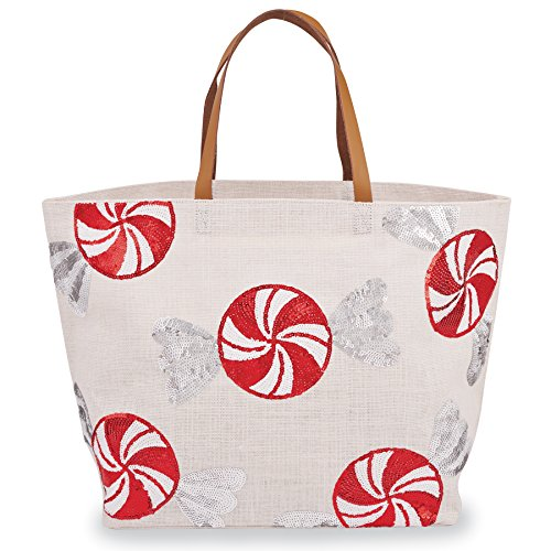 Mud Pie Sequined Peppermints Jute Christmas Tote
