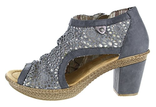 Mujeres tacón azur altsilber 15 Zapatos de azur azul jeans jeans 66578 Rieker altsilber t1dqf1