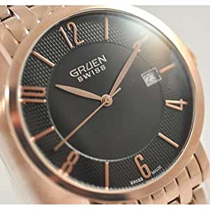 GRUEN Men's Swiss Rose Gold-tone Stainless Steel Thin Watch with Black Dial. Model: GSC17-6