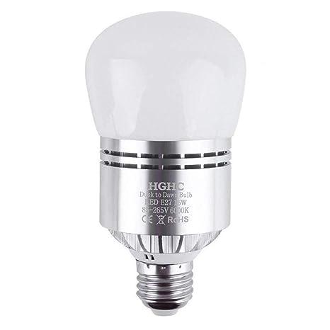 Bombillas Sensor Crepuscular, E27 Sensor de Luz LED 15W Blanco Fría 6000K Anochecer Hasta el