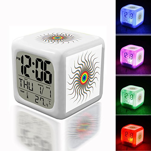 Alarm Clock 7 LED Color Changing Wake Up Bedroom with Data and Temperature Display (Changable Color) Customize the pattern-194.Abstract, Art, Colorful, Prismatic, Rainbow, Sun, Swirl