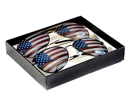 Goson American Flag Mirror Aviator Novelty Decorative Sunglasses (Gold/Black Combo in Black Gift - Combo Sunglasses