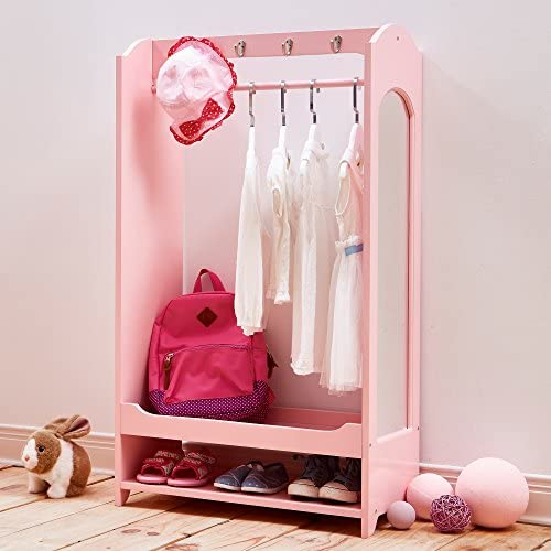 Teamson Kids – Windsor Wooden Dress Up Storage Kids Costume Organizer Center Open Hanging Armoire Closet Unit Furniture with Hooks and Mirror – Pink