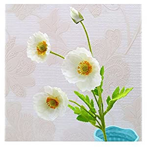 tutu.vivi Real Touch Silk Corn Poppies Decorative Silk Fake Artificial Poppy Flowers for Wedding Holiday Bridal Bouquet Home Party Decor Bridesmaid 5 PCS (Ivory) 45