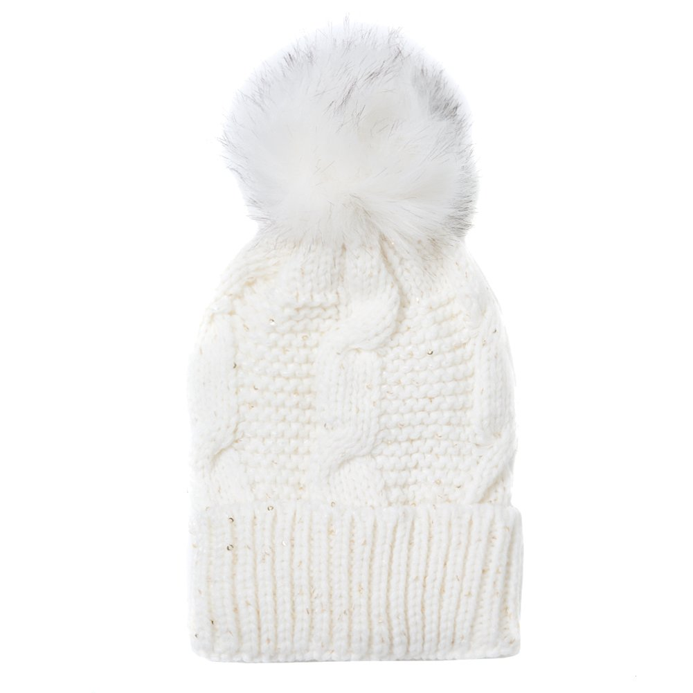 Accessoryo Cream Chunky Knit Beanie With Oversized Pom Pom and Sequin Detail