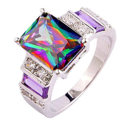 Psiroy 925 Sterling Silver Created Rainbow Topaz Filled Wide Band Engagement Ring Size 6