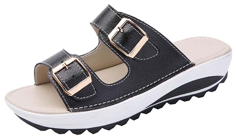 AGOWOO Big Girls Sandals Flat Slip On Outdoor Beach Slides Sandles