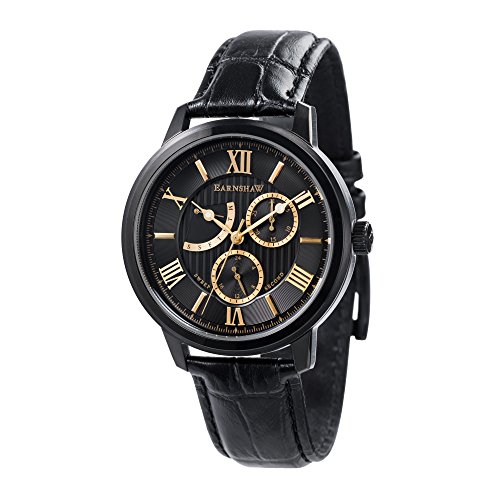 Thomas Earnshaw Men's 'CORNWALL' Quartz Stainless Steel and Leather Casual Watch, Color:Black (Model: ES-8060-05)