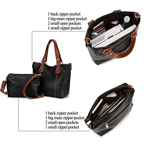 Pu borse Cuoio Nero Shopping Manico Hobo Ravuo Con A Staccabile 2 Pezzi Tracolla Mano Superiore Arancione Bag Borsa Borse Spalla Donna qwA1EFY