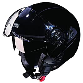Studds Downtown Open Face Helmet (Black, L)