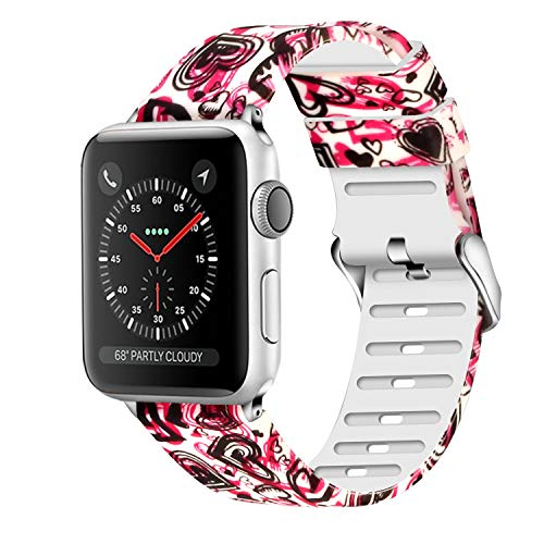 (Lwsengme Compatible with Apple Watch Band 38mm 40mm 42mm 44mm, Soft Flower Printed Replacement Sport Wristbands Compatible with Apple Watch Series 4,Series 3,Series 2,Series 1 (P-21, 42mm/44mm))