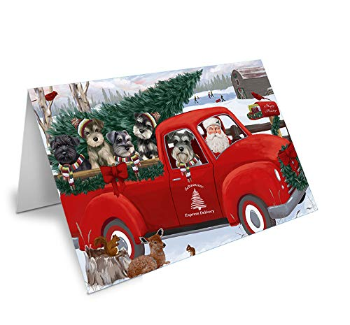 Christmas Santa Express Delivery Schnauzers Dog Family Greeting Card GCD69023 (20)