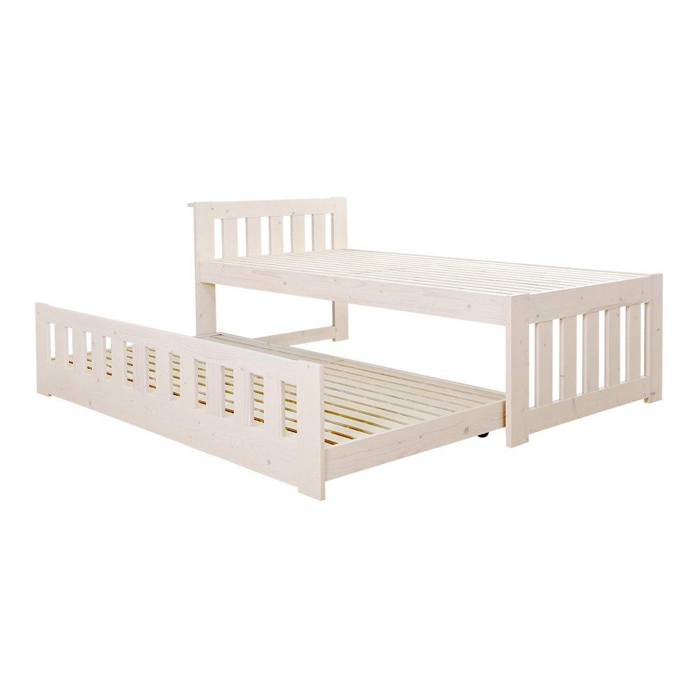 親子で使える二段ベッド ホワイトウォッシュ(すのこ収納式) B01M0AOIHL  ホワイトウォッシュ
