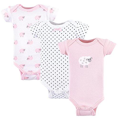 Luvable Friends Baby Bodysuit, 3 Pack, Pink Sheep, (Bodysuit Diaper Shirt)