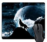Knseva Cool Wolf Howling at The Moon Rectangle Mouse Pad Custom, Trees Moon Scene Gaming Mouse Pads