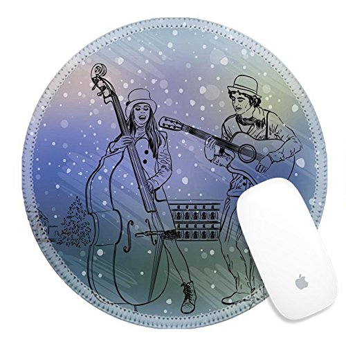 Unique Group Costume Ideas For Work - Luxlady Round Gaming Mousepad 34459894 Christmas street performers in a snowy city