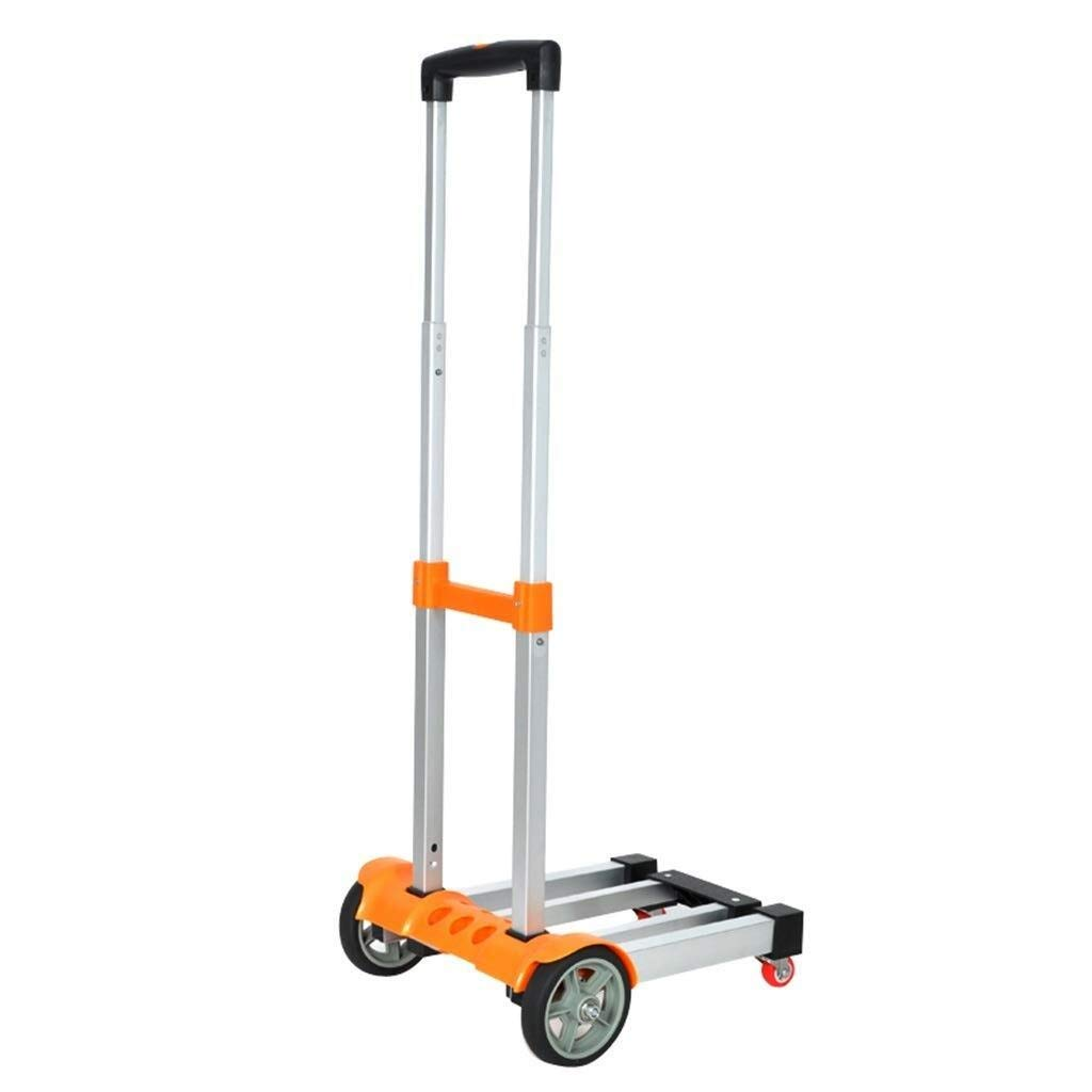LXJYMX Compact Platform Truck Trolley Truck, Truck, Truck, Folding Luggage cart Large-Capacity Platform Truck (Color : Orange)