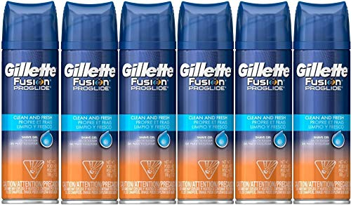 Gillette Fusion Proglide Clean and Fresh Shave Gel (Pack of 6) - Gillette Fusion Shaving Cream