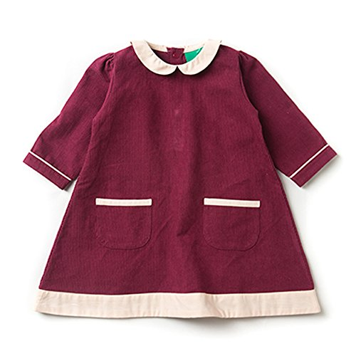 Girls-Corduroy-34-Length-Sleeves-Tunic-Dress-100-Organic-Cotton