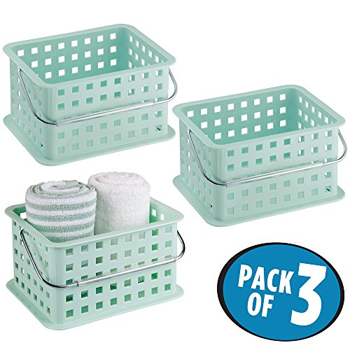 mDesign Bathroom Vanity Organizer Basket for Health and Beauty Products, Lotion, Perfume - Pack of 3, Mint