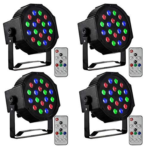 - CO-Z LED Stage Lights with Remote, 4 Pack 18x3W RGB Par Can Lights, 4pcs DMX Controlled Sound Activated Stage Effect Lighting for DJ Home Party Festival Dancing Bar Club Wedding Church Uplighting