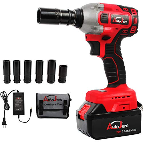 AUTOJARE Cordless Impact Wrench Kit, Brushless 20V Max Lithium-Ion 1/2 Inch Cordless Wrench Kit