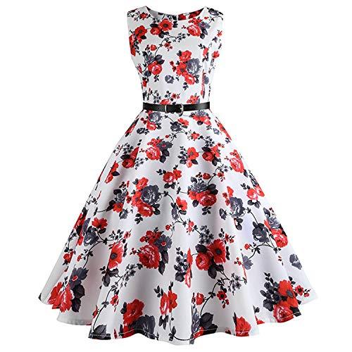 Price comparison product image be-my-guest Floral Print Women Summer Dress Hepburn Retro Swing Vintage Dress A-Line Party Dresses with Belt, 1014, XXL