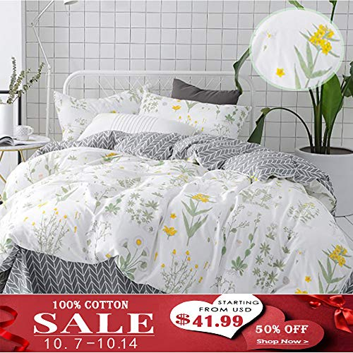 Cottonight Floral Duvet Cover Queen Green Leaves Bedding Set Girls Cotton Bedding Duvet Cover Yellow Flower Pattern 3 piece Set 1 Duvet Cover and 2 Pillow Sham (Floral Green Comforter)