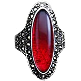 XAHH Jewelry Women's Fashion Vintage Large Oval Red Crystal Cocktail Classic Wedding Eternity Band Ring