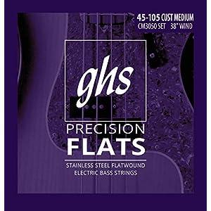 "GHS Strings 4-String Bass Precision Flats, Stainless Steel Flatwound, 38"" Winding, Custom Medium (.045.105) (CM3050)"